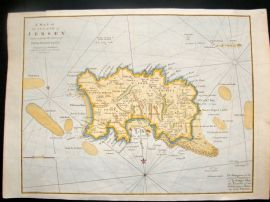Cary 1806 Antique Hand Col Map. Jersey, Channel Islands